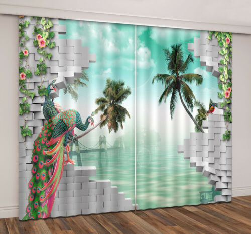 3D Scenery Balcony Landscape Photo Printing Blockout Fabric Decor Window Curtain