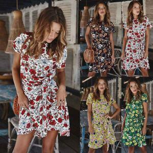Ladies-Women-Sexy-Short-Sleeve-Floral-Mini-Summer-Beach-Sundress-Tea-Dress
