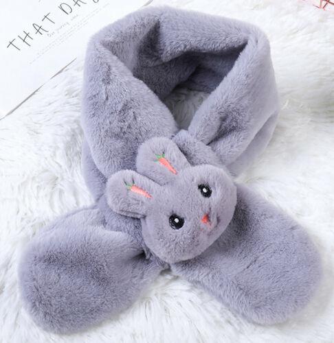 Cute Toddler Baby Boy Girl Kid Fluffy Winter Warm Cartoon Shawls Collar Scarf ED
