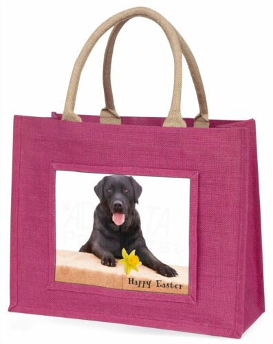 'Happy Easter' Black Labrador Large Pink Shopping Bag Christmas Pr, ADL86DA1BLP