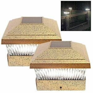 DEL-Energie-Solaire-Deck-Cap-Post-Light-Bright-White-Cloture-Lumieres-Jardin-Exterieur