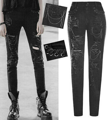 Ripped Distressed Chains Jeans Pants Trousers Gothic Punk Fashion Punkrave Black Ebay