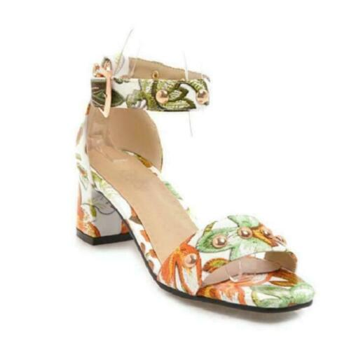 Women/'s Printed Floral Sandals Chunky Heels Buckle Princess Summer Beaded Shoes