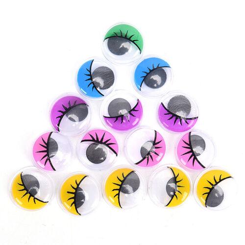 100Pcs Coloured Eyelashes Wiggly Wobbly Googly Eyes DIY Craft PB