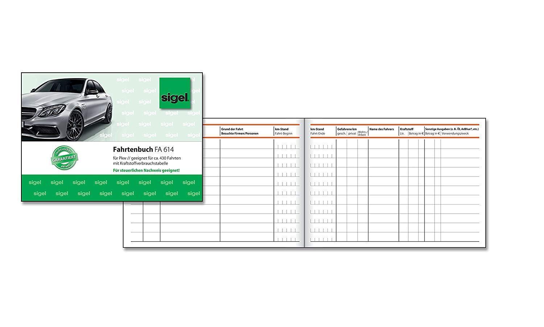 Sigel FA614 Fahrtenbuch Fahrtenbuch Fahrtenbuch für PKW, A6 quer, 40 Blatt - versch. Menge - OVP | Sonderangebot  36726e
