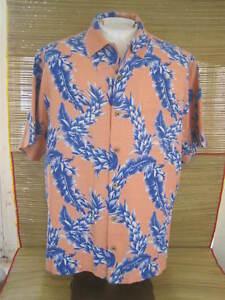 CARIBBEAN-Hawaiian-ALOHA-shirt-pit-to-pit-26-XL-silk-tropical-floral-luau-tiki