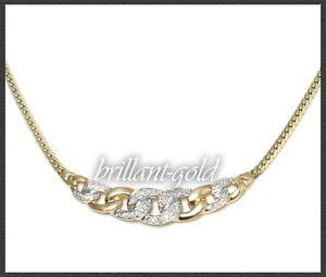 Diamant-amp-Gold-Damen-Collier-Kette-585-Gelbgold-amp-Weissgold-mit-10-Diamanten
