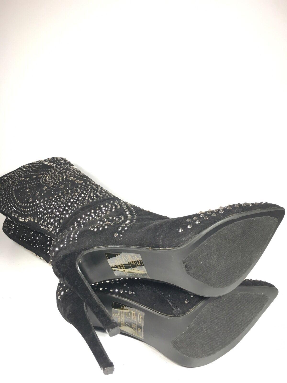 ShuSole ShuSole ShuSole Women's 39 EU Black Suede Studded Point Toe Stiletto Boots d3b019