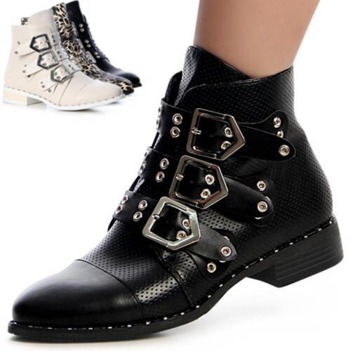 Damen Schnalle Boots Nieten Style Biker Blogger Stiefeletten FrFwYHq