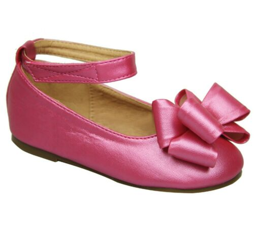 Girls Ribbon Bow Mary Jane Ankle Strap Ballet Flats Shoe Size Baby 3 to Kids 4