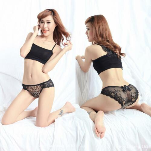 VARIOUS Ladies Pretty Black Lace Brief With Contrast Pattern Panel /& Rear Bow