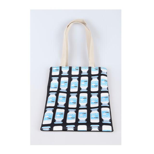 Korea POINT MILK Tote Shopping Shoulder Messenger Bag Handbag Polyester Fashion
