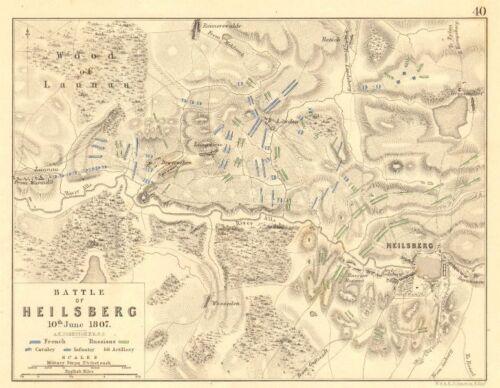 10th June 1807 BATTLE OF LIDZBARK WARMINSKI Poland 1848 old map HEILSBERG
