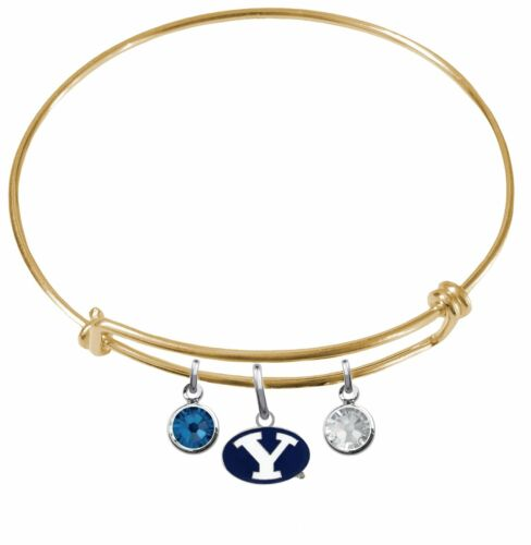 BYU Brigham Young Cougars Wire Bangle Charm Bracelet Crystal Gem PICK YOUR COLOR