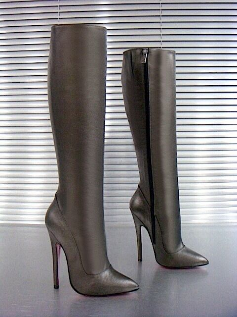 Grandes zapatos con descuento MORI ITALY EXTREME HEEL KNEE HIGH BOOTS STIEFEL STIVALI LEATHER GREY GRIGIO 37