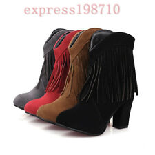 Womens Retro Faux Suede Fringe Tassel Mid Heel Shoes Ankle Riding Boots All Size