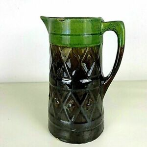 Antique-Majolica-Tall-Green-and-Brown-Pitcher