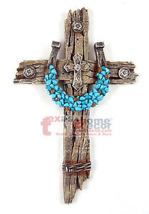 image is loading turquoise horseshoe concho decorative wall cross faux wood - Decorative Wall Crosses
