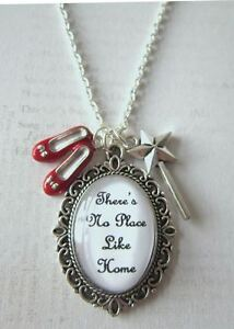 Wizard-of-Oz-There-039-s-No-Place-like-Home-Wand-amp-Ruby-Slippers-Charms-Necklace-New