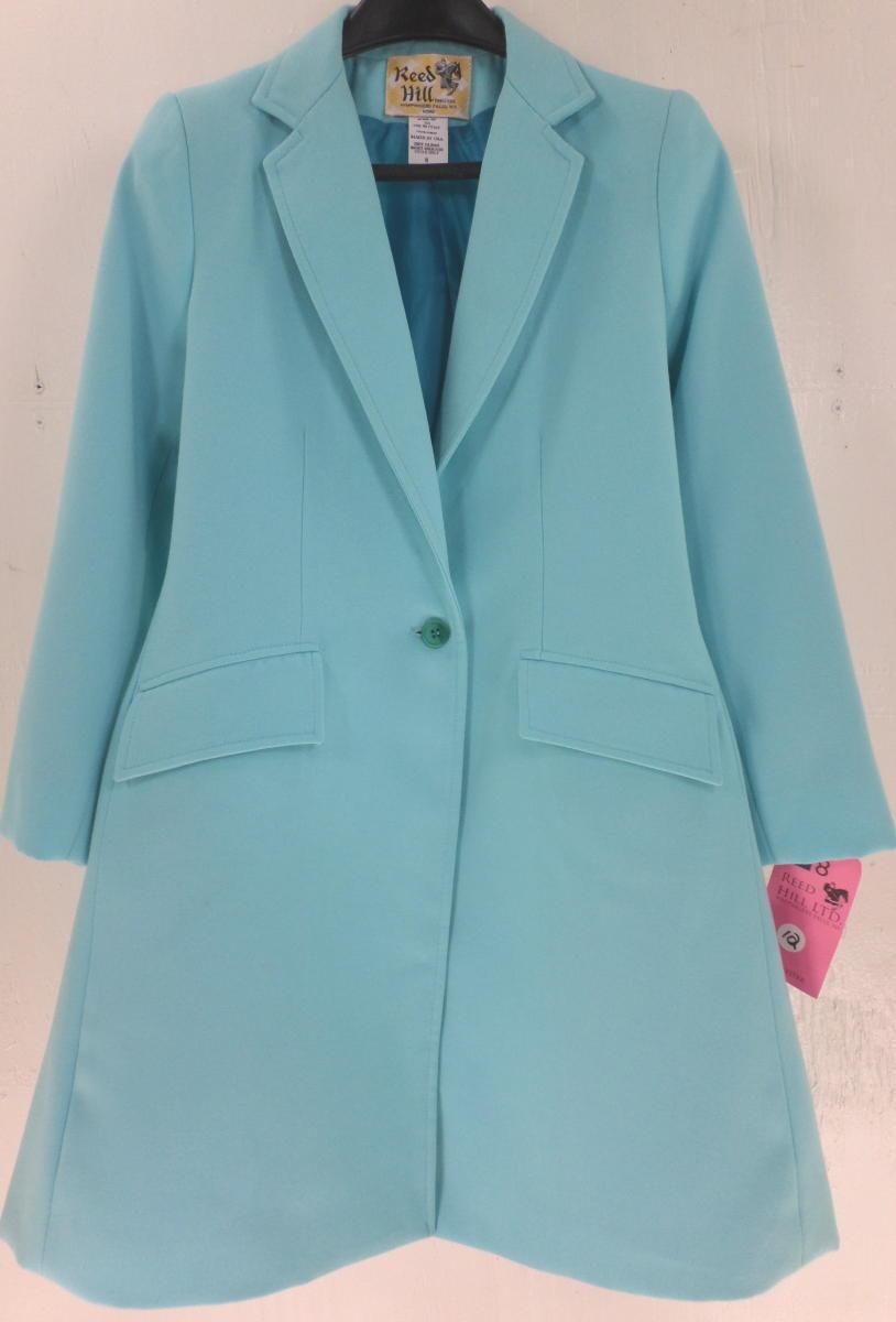 Reed Hill Child's Child's Child's Saddleseat Day Coat Aqua Blau Polyester 12 - USA 6e9906