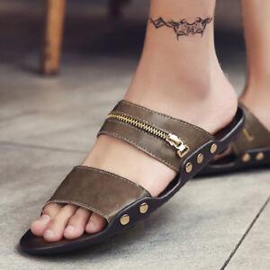 men stylish flat leisure slippers beach sandals soft bottom leather