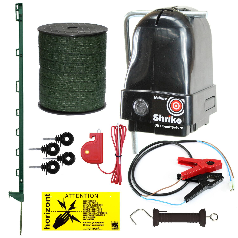 3v & 12v Shrike Electric Fence Kit - Green 3FT Posts & Tape - Mobile Horse Kit