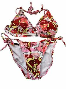 New-Pink-Bikini-Set-UK-8-Aus-10-Triangle-Cups-removable-padding-Tie-Sides-Floral