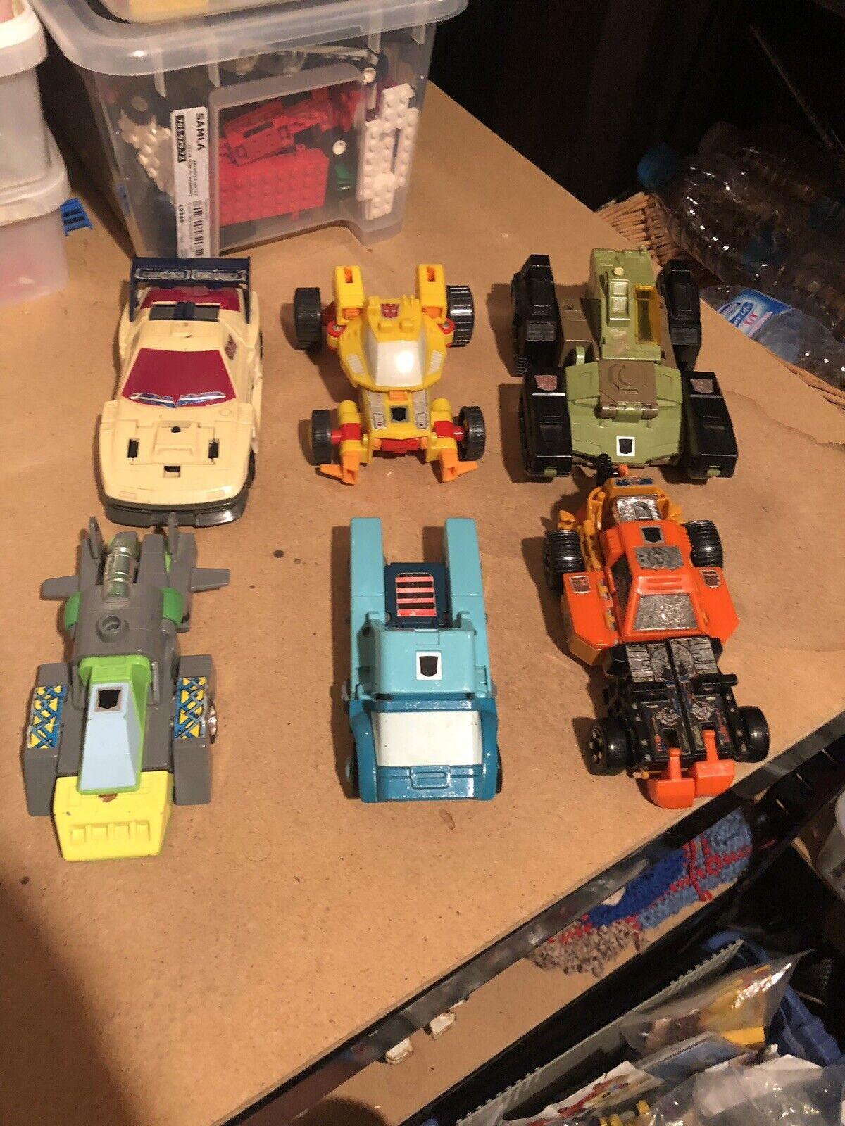 Vintage G1 TRANSFORMADORES AUTOBOT Trabajo Lote de los vehículos de Transformers Grande de 6x 1980s