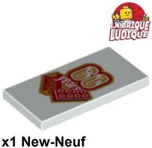 Lego-1x-Tile-decorated-2x4-brique-60-years-ans-anniversaire-87079pb465-NEUF