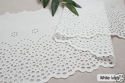 "1y Embroidery scalloped cotton eyelet lace White-Ivory 10"" (25cm) sh3 laceking"