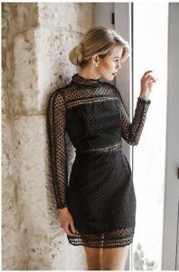 LORETA-Size-L-BNWT-Lace-Crochet-High-Neck-Black-Dress-RRP-129