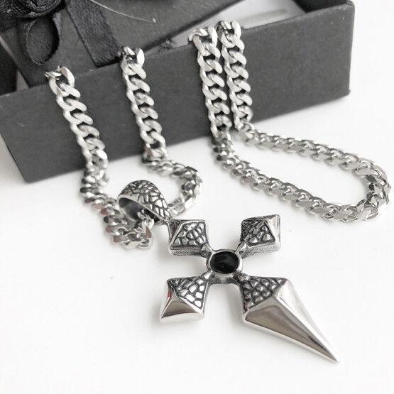 Halskette Edelstahl Kreuz Anhänger Panzerkette pinkNKRANZ silver onyx pinkry ek1
