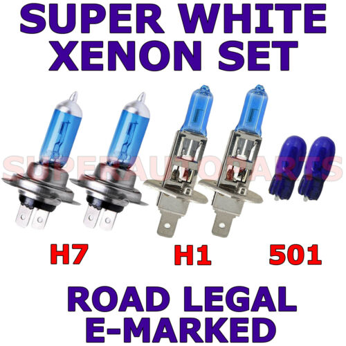 FITS PEUGEOT 407 SW 2006-ON SET H1 H7 501 HALOGEN  XENON SUPER WHITE LIGHT BULBS