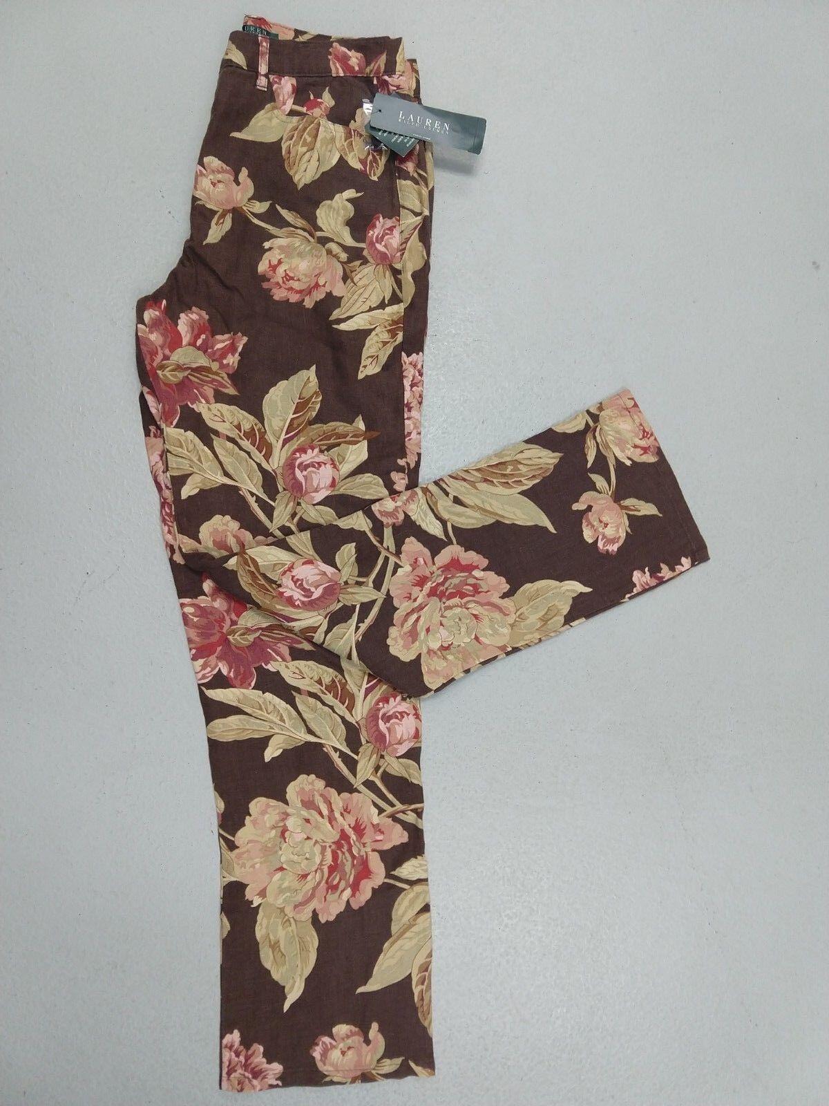 New Ralph Lauren Woman Floral Pants 10 Brown Linen cruise vacation clothes B