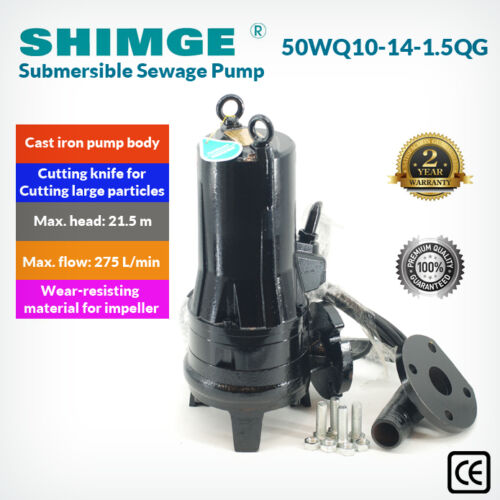 Shimge Cast Iron Submersible Sewage Pump With Cutting System 50WQ10141.5QG
