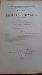 Rivista SCUOLA Antropologia 13 Eme Anni 1903 F.Alcan N° VII ABE