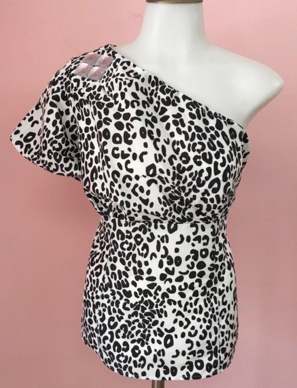New WDNY 8 10 SEXY Weiß schwarz Asymetrical Top damen Designer Blouse Shirt NWT