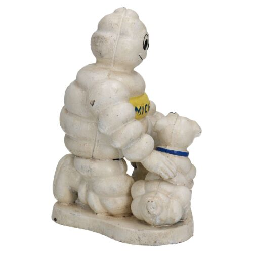 Michelin Man with Dog Statue Figurine Bibendum Tyres Cast Iron Figure Garden