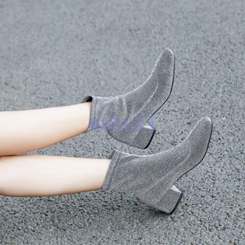 Femme Bloc Talon Hiver Chaussette Bottes Décontractées Bout Carré Solide Bottines Mode