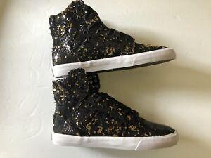 Supra-Women-s-Skytop-Black-Gold-white-Sneakers-Sz-5
