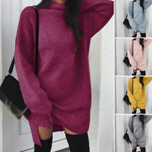 Dress-Winter-Autumn-Knitwear-Sweater-Long-Womens-Loose-Neck-Turtle-Sleeve-Jumper