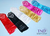 Fingerless Stretch Satin & Lace Wedding Bridal Prom Dance Gloves