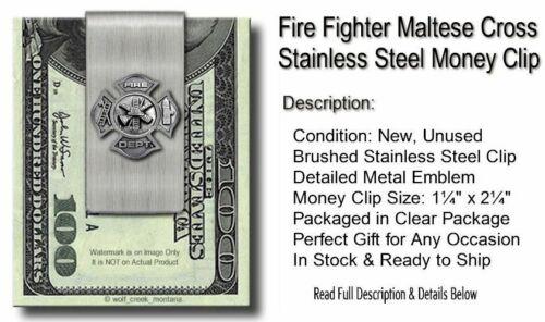 FIREFIGHTER RESCUE FIREMAN CROSS FIRE FIGHTER STEEL MONEY CLIP FREE SHIP #P/'