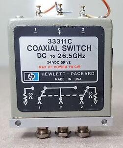 HP-Coaxial-Switch-33311C-DC-to-26-5GHz-24VDC-DRIVE-Max-RF-power-1W-CW