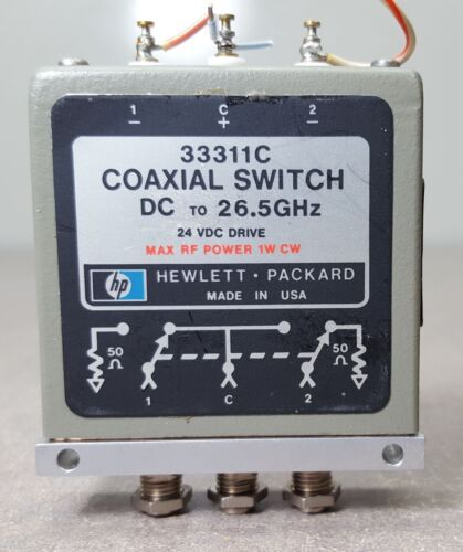 HP Coaxial Switch 33311C// DC to 26.5GHz// 24VDC DRIVE// Max RF power 1W CW