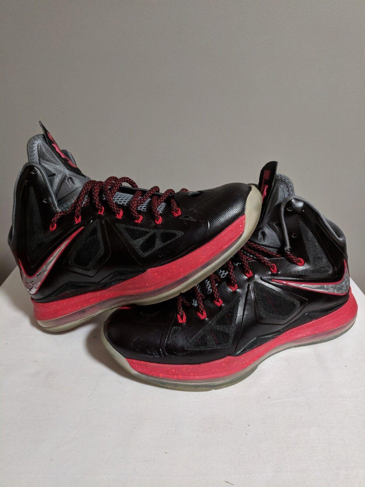 Lebron 10 X Pressure black red white bred Size 9 Nike plus