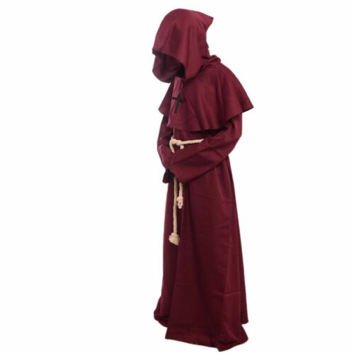 Friar Medieval Cowl Hooded Monk Renaissance Priest Robe Costume Cosplay 6 Colors