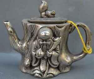 China-Ancient-Collectable-Miao-SIlver-Carve-Fortune-God-Auspicious-Tibet-Tea-Pot
