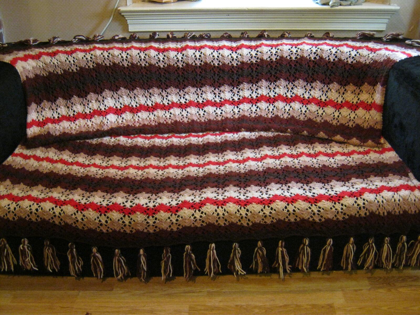 Afghan Throw Blanket Handmade Pointelle Knit Bed Cover Brown Fringe Trim
