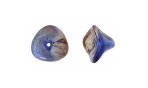 4 Sapphire Celsian Three Petal Glass Flower Beads 12MM